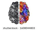 illustration of human brain...   Shutterstock . vector #1608044803