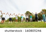 mixed group of people joined... | Shutterstock . vector #160805246