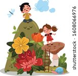 a girl and a boy take a deep... | Shutterstock .eps vector #1608066976