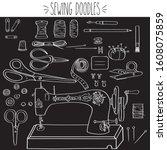 sewing doodles  singer machine  ... | Shutterstock .eps vector #1608075859