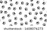 Pet Paw Vector Seamless Pattern ...
