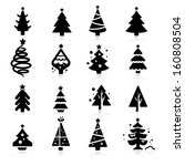 christmas tree icons | Shutterstock .eps vector #160808504