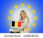 woman holding laptop with... | Shutterstock . vector #160818254