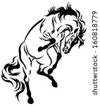 rearing horse tattoo black and... | Shutterstock .eps vector #160818779