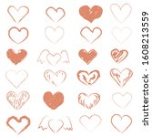 set of hand drawn hearts in red.... | Shutterstock . vector #1608213559