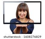 beautiful brunette inside and...   Shutterstock . vector #1608276829