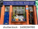 Small photo of London, United Kingdom. August 8, 2019. The Notting Hill Bookshop, formerly a Travel Bookshop, famous for being the setting for Notting Hill.