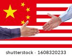 businessmen handshaking on usa...   Shutterstock . vector #1608320233