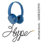 headphones with hype cable on... | Shutterstock . vector #1608332953