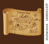 stylized pirate map on vintage... | Shutterstock .eps vector #1608341329