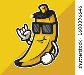 cool banana cartoon character... | Shutterstock .eps vector #1608396646