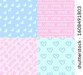 valentine's day patterns. set... | Shutterstock .eps vector #1608491803