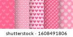 love heart patterns. set of... | Shutterstock .eps vector #1608491806
