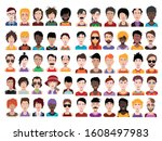 large set of people avatars in...   Shutterstock .eps vector #1608497983