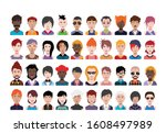 large set of people avatars in...   Shutterstock .eps vector #1608497989