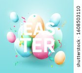 modern easter background with... | Shutterstock .eps vector #1608503110