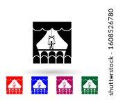 puppet theater multi color icon....