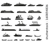 set of ships and boats | Shutterstock .eps vector #160854836