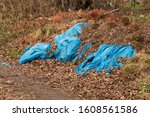 Small photo of Pollution concept. Garbage, rubbish waste dumped in the environment. Wild landfill. Illegal dumping. The unauthorized, open dump of garbage next to a dirt road in the forest in the suburbs of the city