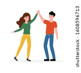 two people woman and man giving ... | Shutterstock .eps vector #1608596713
