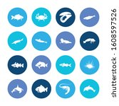 fauna icon set and harbor seal... | Shutterstock .eps vector #1608597526