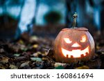halloween jack o lantern on... | Shutterstock . vector #160861694