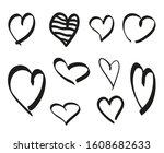 black heart on isolated white... | Shutterstock . vector #1608682633