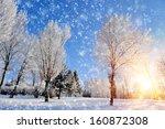 Winter Park In Snow In Sunny Day