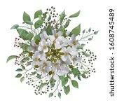 bouquet watercolor natural...   Shutterstock .eps vector #1608745489