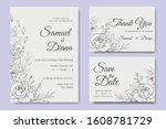 hand drawn wedding invitation... | Shutterstock .eps vector #1608781729