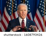 Small photo of New York, NY - January 7, 2020: Former Vice President & Democratic hopeful Joe Biden made foreign policy statement at Current on Pier 59