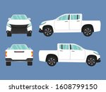 set of white pickup truck car... | Shutterstock .eps vector #1608799150