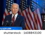 Small photo of NEW YORK, NY - JANUARY 07: Democratic presidential candidate VP. Joe Biden delivers remarks on the Trump administration's recent actions in Iraq at Chelsea Piers on January 07, 2020 in New York City.