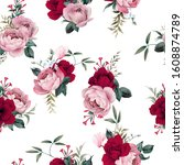 seamless floral pattern with... | Shutterstock . vector #1608874789