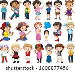 large set of boys and girls... | Shutterstock .eps vector #1608877456