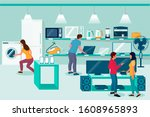 electronics store  vector flat... | Shutterstock .eps vector #1608965893