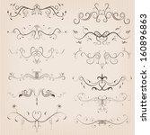 vintage calligraphic floral... | Shutterstock . vector #160896863