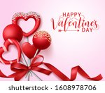 valentine candies with ribbon... | Shutterstock .eps vector #1608978706