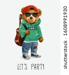 let's party slogan with cute... | Shutterstock .eps vector #1608991930