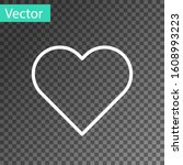 White Line Heart Icon Isolated...