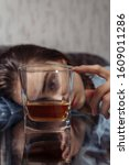 Small photo of Female alcoholism. Bad habits. Problems with alcohol. Harm to health