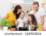 happy young family with mum ... | Shutterstock . vector #160903826