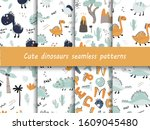 set of seamless patterns with... | Shutterstock .eps vector #1609045480
