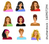 women hairstyles | Shutterstock .eps vector #160907294