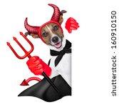 Devil Dog Behind A Blank White...
