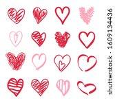 heart on isolated white... | Shutterstock .eps vector #1609134436