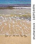 Words Stress Written On Sand ...