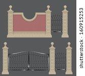 garden gateway  stone pillars...   Shutterstock .eps vector #160915253