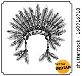 Native American indian headdress with feathers in a sketch style. Hand-drawn card. Vector illustration.