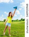 cute little 7 years old girl... | Shutterstock . vector #160920968